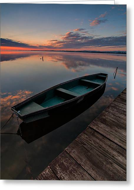 Green Boat Greeting Cards - Dawn on lake Greeting Card by Davorin Mance