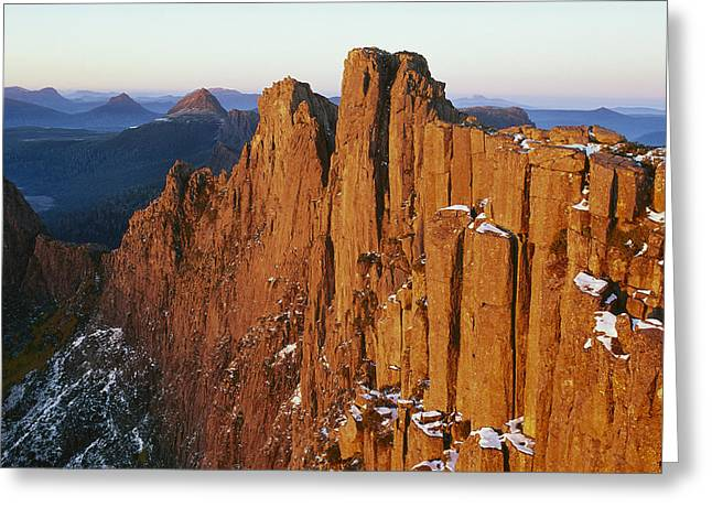 Cradle-mountain Greeting Cards - Dawn On Mount Geryon Tasmania Greeting Card by Grant  Dixon