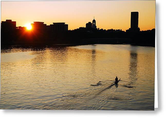 Boston Ma Greeting Cards - Dawn on the Charles Greeting Card by James Kirkikis