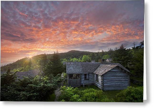 Tennessee Barn Greeting Cards - Dawn Over LeConte Greeting Card by Debra and Dave Vanderlaan