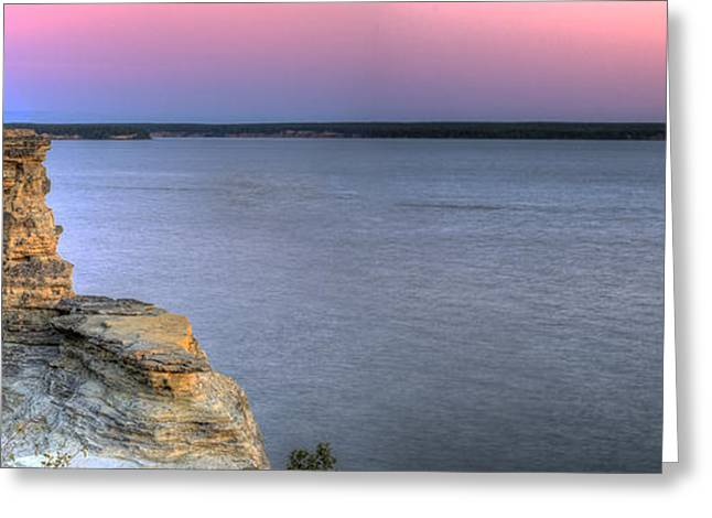 Superior Sunrise Greeting Cards - Dawn over Miners Castle Greeting Card by Twenty Two North Photography