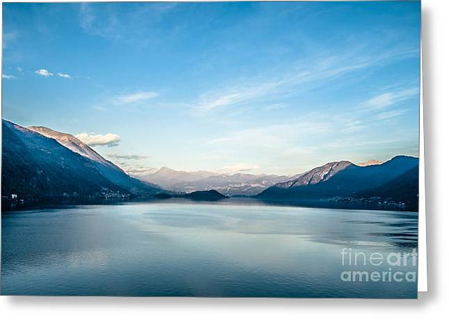 Charming Vistas Greeting Cards - Dawn over mountains Lake Como Italy Greeting Card by Peter Noyce