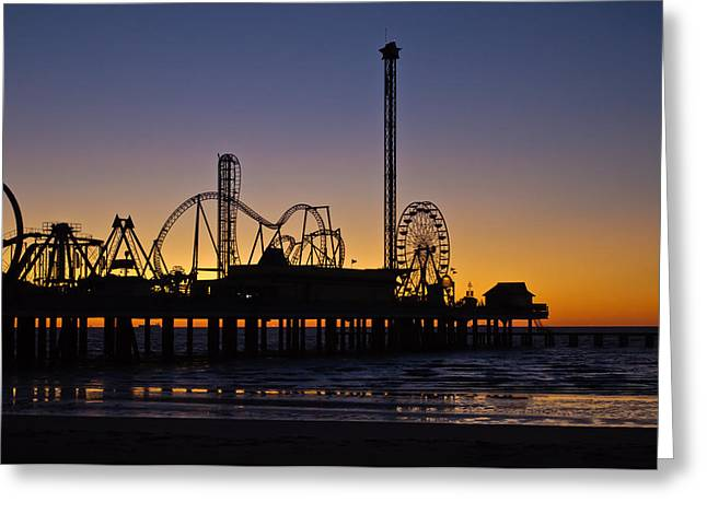 Galveston Greeting Cards - Dawn Over the Pier Greeting Card by John Collins