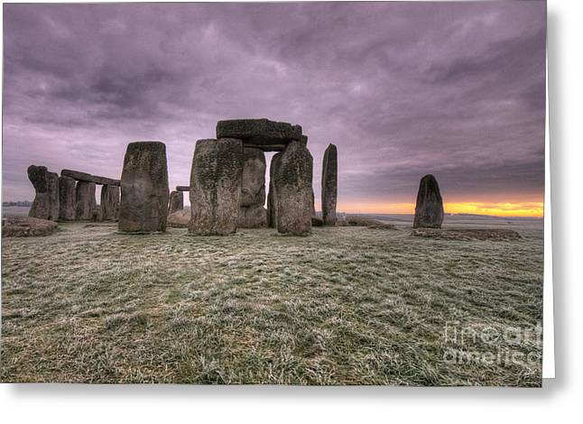 Amesbury Greeting Cards - Dawn over the Stones  Greeting Card by Rob Hawkins