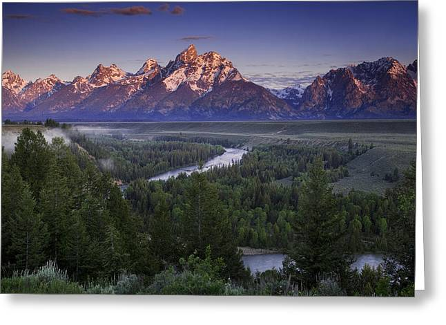 Grand Teton Greeting Cards - Dawn over the Tetons Greeting Card by Andrew Soundarajan