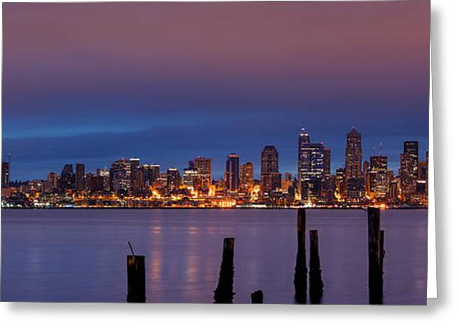 Medical Greeting Cards - Dawn Panorama of Downtown Seattle from Alki Beach Greeting Card by Silvio Ligutti