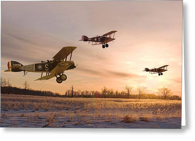 Biplane Greeting Cards - Dawn Patrol Greeting Card by Pat Speirs