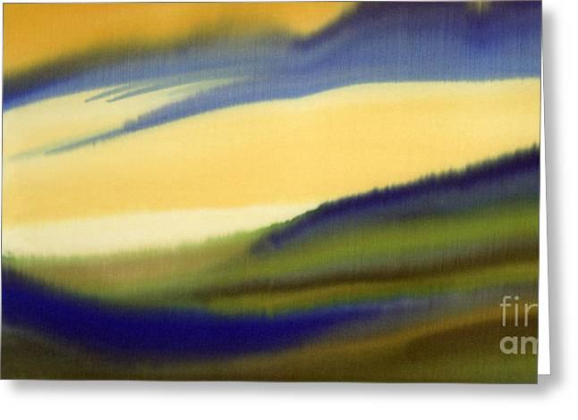 Dyes On Silk Greeting Cards - Dawn Rising Greeting Card by Addie Hocynec