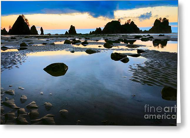 Shi Greeting Cards - Dawn Seascape Greeting Card by Inge Johnsson