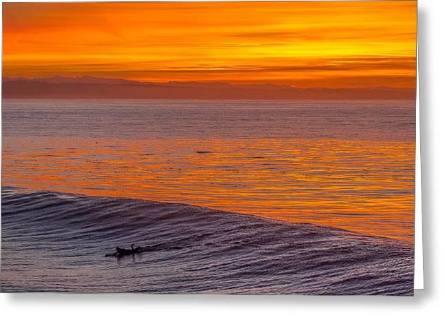 Steamer Lane Greeting Cards - Dawn Surfer Greeting Card by Denis LeBlanc