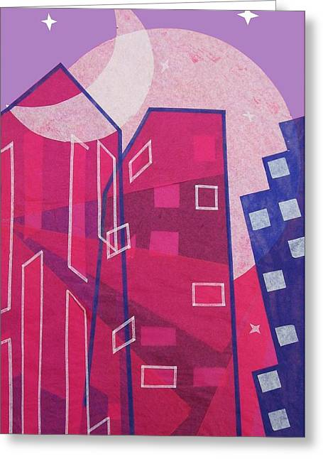 Fushia Mixed Media Greeting Cards - Dawn to Dusk in the City Greeting Card by Julia and David Bowman