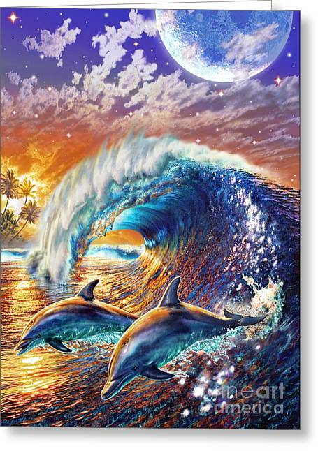 Jumping Digital Art Greeting Cards - Atlantic Dolphins Greeting Card by Adrian Chesterman