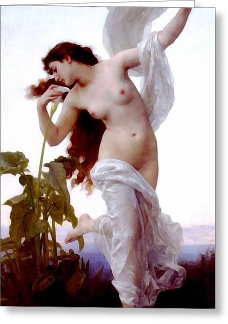 White Robe Greeting Cards - Dawn Greeting Card by William Bouguereau