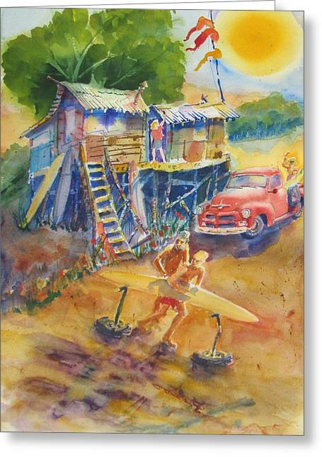 Surf Lifestyle Paintings Greeting Cards - DawnBeachShaping Greeting Card by Jackson Ordean