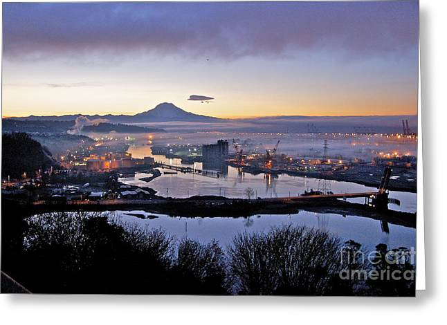 Commencement Bay Greeting Cards - Dawns Early Light Greeting Card by Sean Griffin