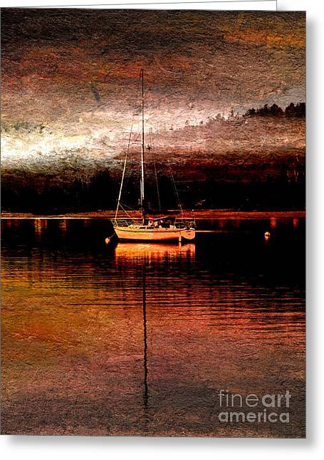 Water Vessels Mixed Media Greeting Cards - Dawns Mist in Harbor Greeting Card by R Kyllo