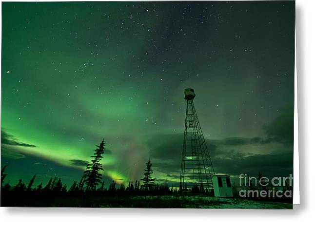 Dawson City Fire Lookout Tower With Northern Lights Greeting Card by Priska Wettstein
