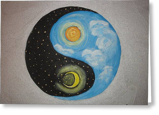 Ying Paintings Greeting Cards - Day and Night Ying Yang Greeting Card by Angie Butler
