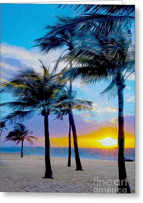 Hawaii Mixed Media Greeting Cards - Day at the Beach Greeting Card by Jon Neidert