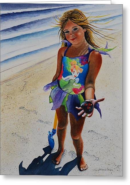Maine Beach Greeting Cards - Day At The Beach Greeting Card by Joy Bradley