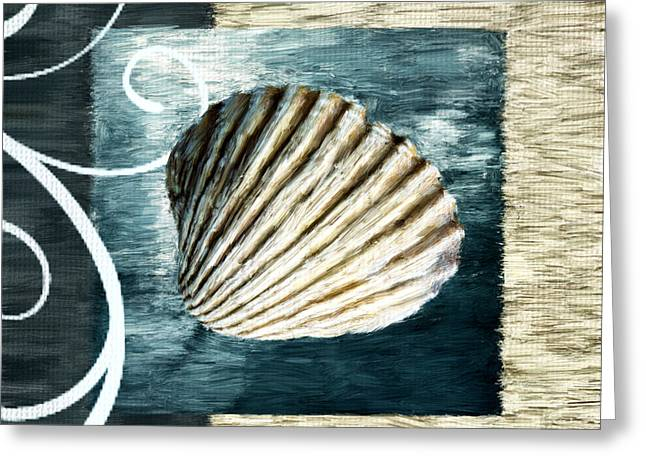 Seashell Digital Art Greeting Cards - Day At The Beach Greeting Card by Lourry Legarde