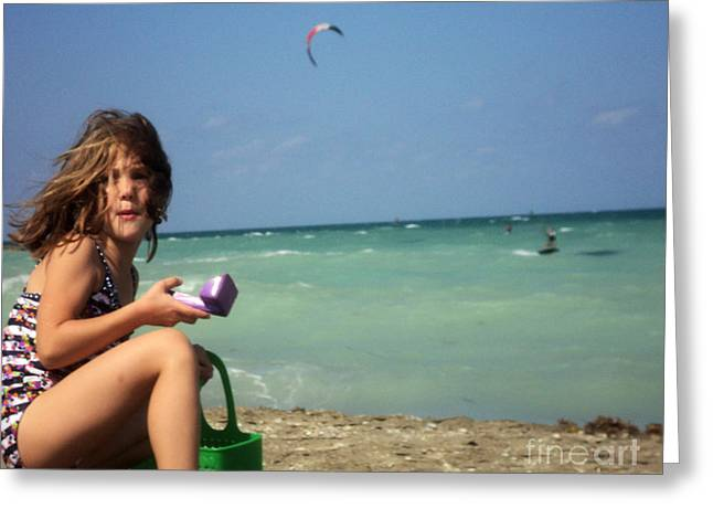 Little Surfer Girl Print Greeting Cards - Day at the Beach No5 Greeting Card by Megan Dirsa-DuBois