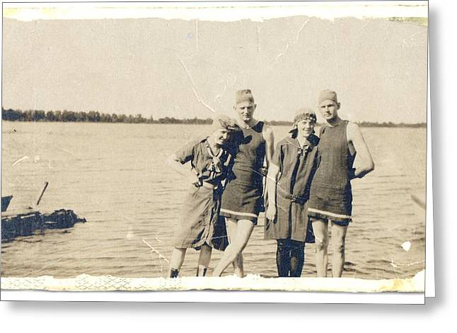 Swimsuit Photo Greeting Cards - Day at the Lake 2 Greeting Card by Paul Ashby Antique Image
