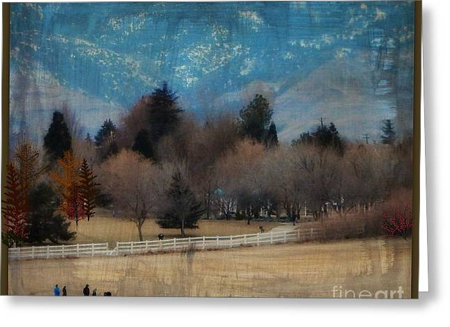 Matting Greeting Cards - Day at the Park Painting Digitally Greeting Card by Bobbee Rickard