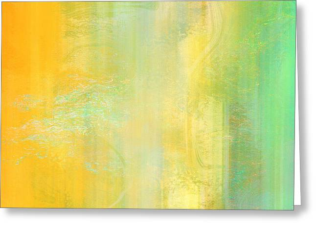 Print On Canvas Greeting Cards - Day Bliss - Abstract Art Greeting Card by Jaison Cianelli