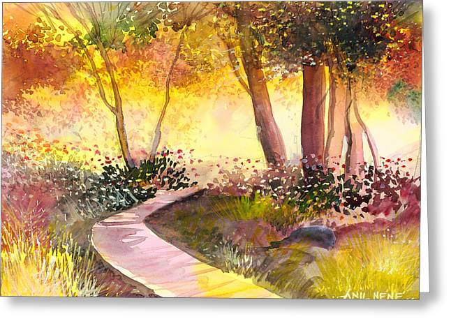 Fall Scenes Drawings Greeting Cards - Day Break Greeting Card by Anil Nene