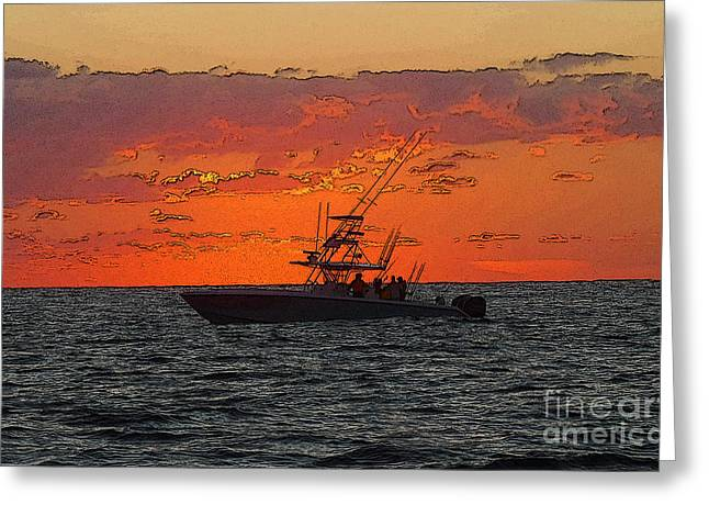 Sportfishing Boats Greeting Cards - Day Break Greeting Card by Carey Chen