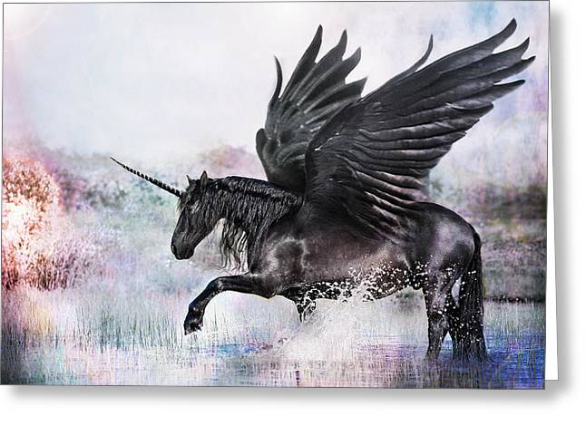 Black Winged Unicorn Greeting Cards - Day Dream Greeting Card by Pamela Hagedoorn