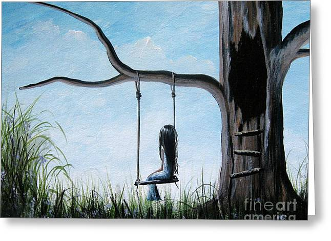 Child Swinging Paintings Greeting Cards - Day Dreaming by Shawna Erback Greeting Card by Shawna Erback
