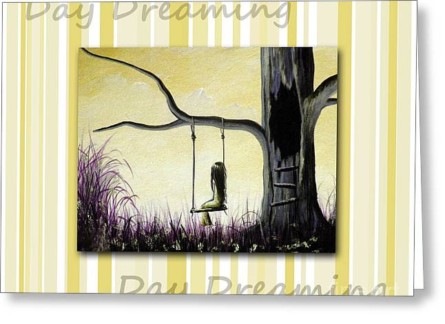 Youthful Paintings Greeting Cards - Day Dreaming in Yellow by Shawna Erback Greeting Card by Shawna Erback