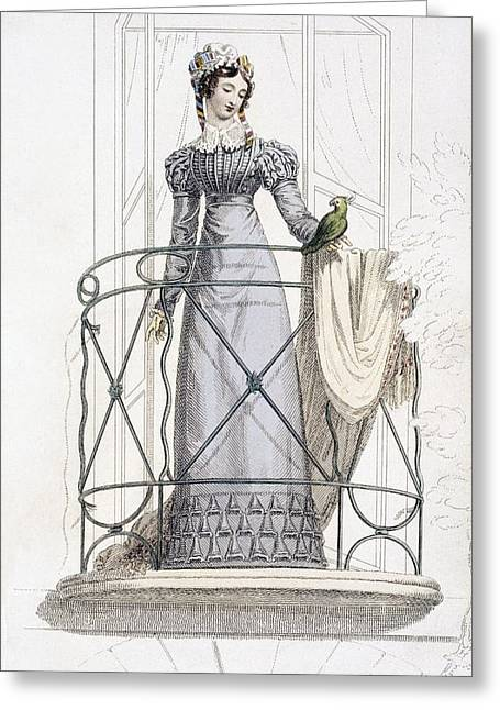 Collar Drawings Greeting Cards - Day Dress, Fashion Plate Greeting Card by English School