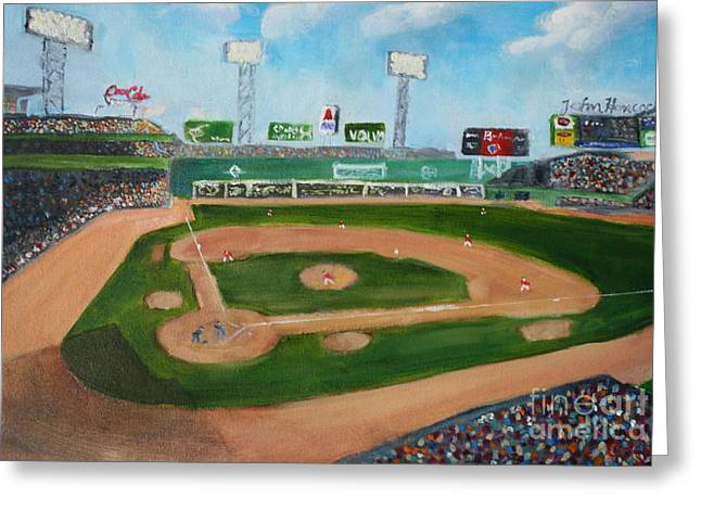 Fenway Park Paintings Greeting Cards - Day Game at Fenway Park Greeting Card by Joshua Chase