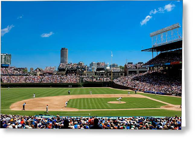 Sports Fields Greeting Cards - Day Game at Wrigley Field Greeting Card by Anthony Doudt