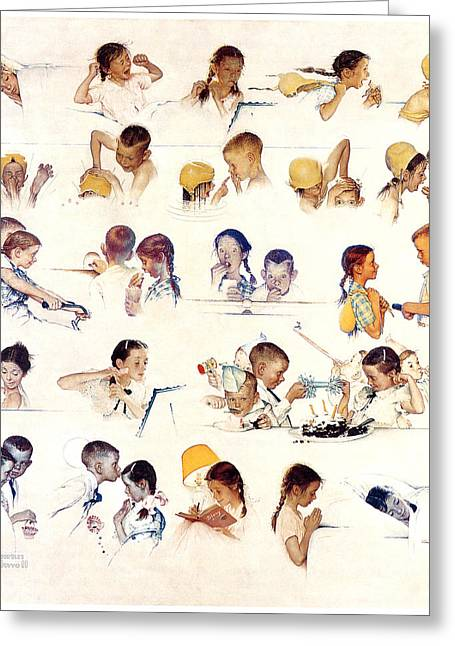 The Country School Greeting Cards - Day in the Life of a Little Girl by Norman Rockwell Greeting Card by Nomad Art And  Design
