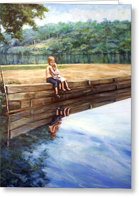 Reflecting Water Drawings Greeting Cards - Day in The Sun Greeting Card by Laura Ury