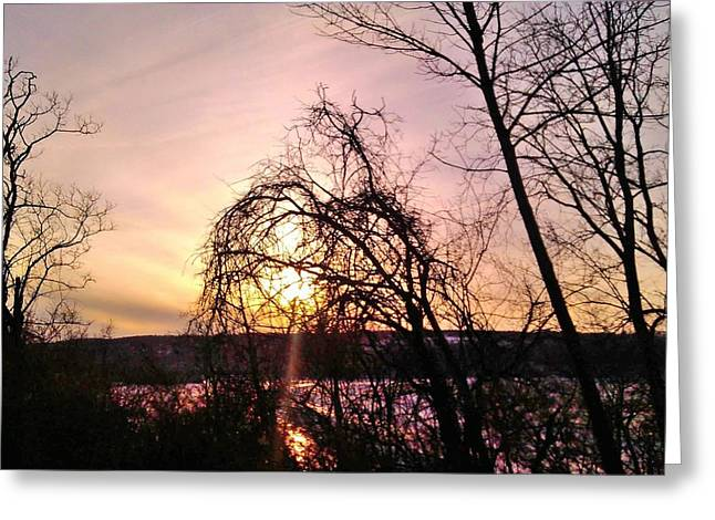 Sun Rays Pastels Greeting Cards - Day Is Done Cayuga Lake Greeting Card by Jo-Ann Hayden