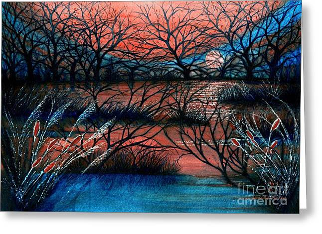 Silhouette Of Tree Greeting Cards - Day is done October sky Greeting Card by Janine Riley