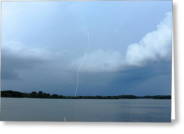 Stormy Weather Greeting Cards - Day Lightning Greeting Card by Reid Callaway