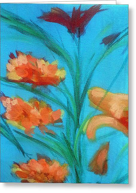 Day Lilly Paintings Greeting Cards - Day Lillies Greeting Card by Loretta Nash