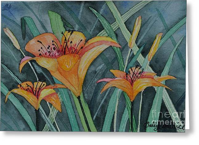 Day Lilly Paintings Greeting Cards - Day Lillies Greeting Card by Sally Rice
