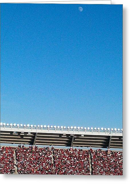 Bryant Denny Stadium Greeting Cards - Day Moon Bryant-Denny Greeting Card by Kenny Glover