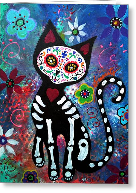 Turkus Greeting Cards - Day of the Dead Cat Greeting Card by Pristine Cartera Turkus