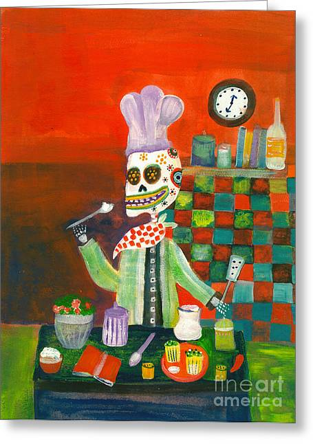 Apparel Mixed Media Greeting Cards - Day of the Dead Chef Greeting Card by Wild Colors