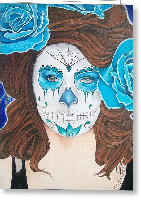 Pencil On Canvas Greeting Cards - Day Of The Dead Drawing Greeting Card by Lupe Gonzalez