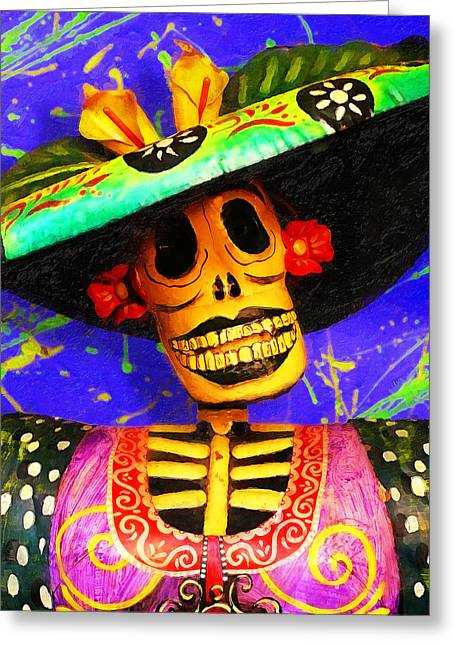 Contemporary American Folk Art Greeting Cards - Day of the Dead Fashion Greeting Card by Ron Regalado