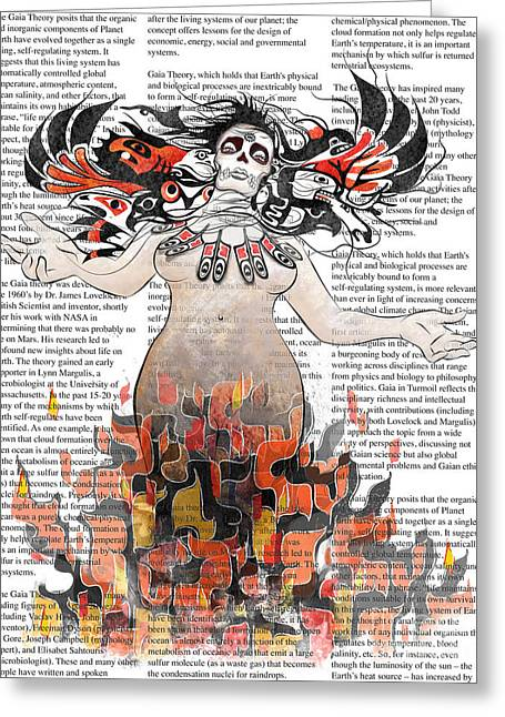 Salmon Digital Greeting Cards - Day of the Dead Gaia in Flames with Text Illustration print Greeting Card by Sassan Filsoof